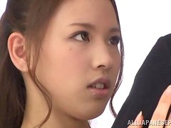 Sexy and petite Reina Takagi gets drilled and jizzed hard