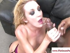 Raunchy Amy Brooke swallowing his fresh load