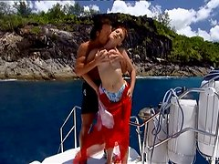 Slim Veronica Sinclair gets fucked cowgirl on a boat