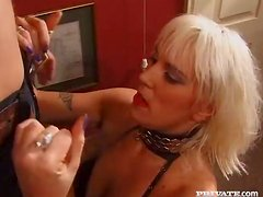 Mandi the hot MILF in stockings gets fucked in both holes