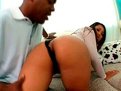 Horn-mad black nympho goes wild while sucking two strong BBCs for cum