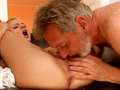 Short-haired chick gets her pussy eaten and drilled hard
