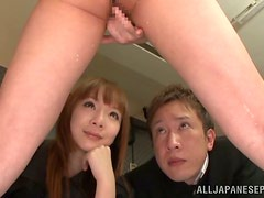 Japanese sweetie gets her vag licked and fucked in missionary position
