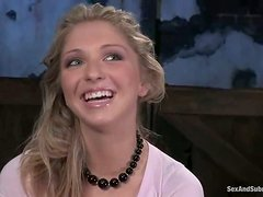 He ties Jaelyn Fox up and inserts his cock deep in her mouth