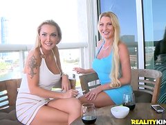 Awesome FFM Threesome with Two Horny Busty Blonde MILFs
