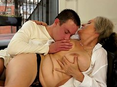 Kinky grannie likes meaty cock of one young dude