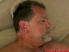 Sucking on a hairy bear dick