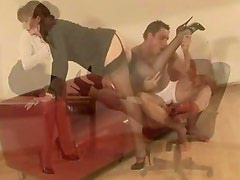 Femdom mature stockings whore gives footjob