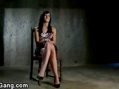 Bound babe pounded by group of guys in a basement