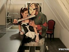 Kattie Gold moans loudly while getting her ass fucked by a masked guy