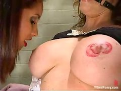 Busty hussy Christina Carter gets tormented by Isis Love in BDSM scene