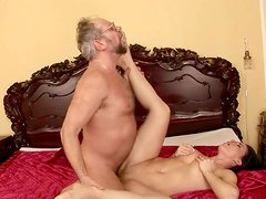 Hungry for sex brunette whore is fucking old German grandpa