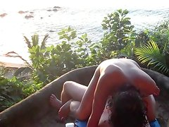 Fucking my petite filipina wife on the beach in Mexico 2