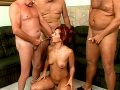 Lustful MILF with small tits takes part in foursome