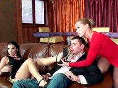 Two wanton whores please a kinky dude in FFM during shooting of porn movike
