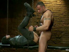 Blowjob and Ass Fucking for Tortured Gay Guy in BDSM