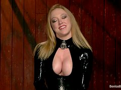 Darling the busty blonde gets chained and toyed