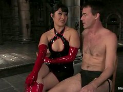 Horny DragonLily bounds a guy and toys his ass deep