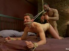 A gay gets his cock rubbed and his ass fucked in BDSM scene