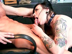 BBW slut in black corset Scarlet LaVey is riding hard dick of Ryan McLane