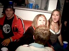 Blonde chick flashes her nipples at the college party