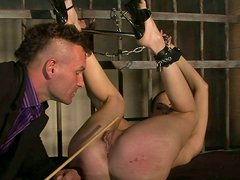 Salacious slut gets her fine ass whipped in prison cell