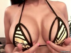 Fake tits look incredible in close up