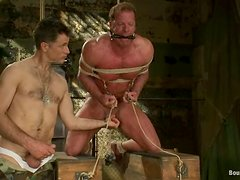 Big Muscle Guy Gets Tied Up and Fucked Hard by a Skinnier Gay in BDSM