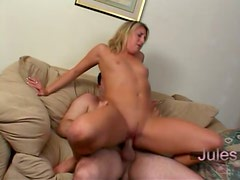 Slender Jules Van Saint gets her pink pussy licked and fucked