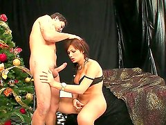 Exciting tranny and her boyfriend are having nice fuck together. Beautiful dick-girl is giving