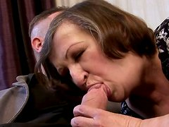Hussy grannie likes to suck meaty cock standing on her knees