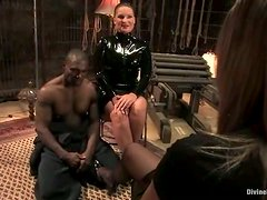 Dominatrix Dressed In Black Latex Finally Fulfills Her Fetish For A Black Slave!