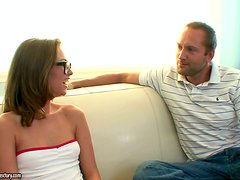 Cute Riley Reid sucks a dick expertly and gets rammed on a sofa