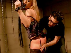 Alluring blond fairy gives a head to kinky master with hands cuffed