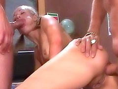 Schoolgirl double penetration with facials