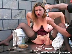 Fatty in corset tied up in dungeon
