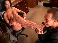 He licks her boots and pussy