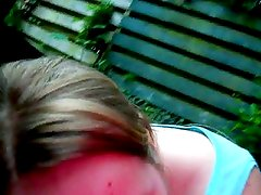 Blonde bbw girl blowjob in the garden