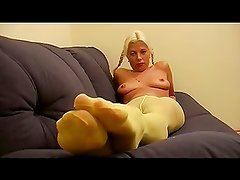 Yellow Pantyhose Foot Tease