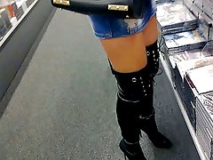 french girlvoyeur shopping miniskirt & overknee corset boots