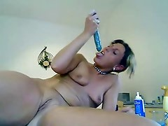 Anal slut uses butter and whipped cream as lube