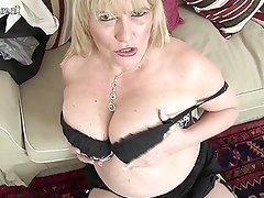 Hot British mother shows great tits and masturbates