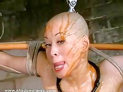 Asian bondage pornstar Kumimonsters bizarre feather and tar