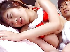Christmas JAV Asian gets fucked by 2 guys uncut