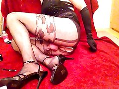 Toy play in sparkly club dress and hose 4