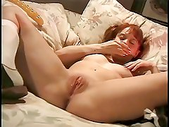Pigtailed Slut spends her 18th birthday fucking herself