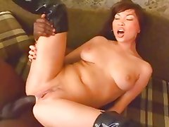 Asian in hot thigh boots gets BBC anal creampie