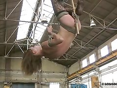 Extreme head down suspension and whipping with Lola.