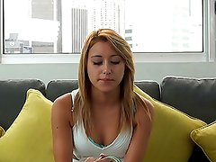 Casting Couch-X Blonde gymnast gets flexible on cam