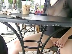 Voyeurchamp.com Wife Upskirt Flashing Strangers At Starbucks